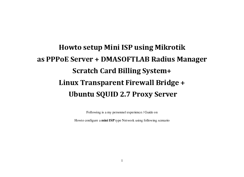PDF) How to setup Mini ISP using Mikrotik | wahyu prayogo - Academia edu