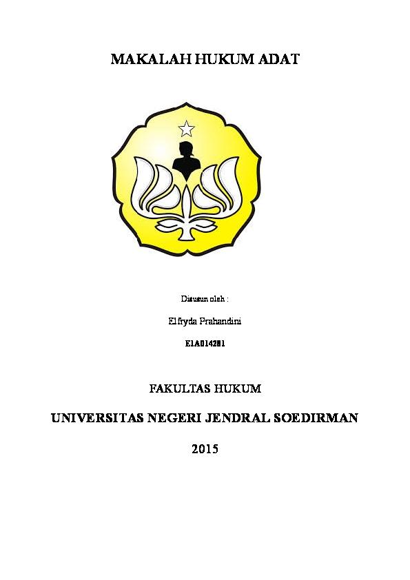 Makalah Hukum Adat Elfryda Prahandini Academia Edu