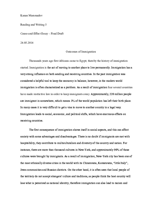 Essay Thesis Example Docx Spm English Essay also Proposal Essay Template Outcomes Of Immigration  Causeandeffect Essay  Kanan Mammadov  In An Essay What Is A Thesis Statement