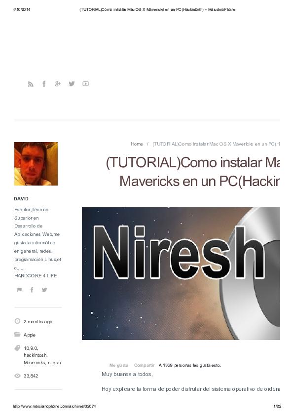 PDF) Home / (TUTORIAL)Como instalar Mac OS X Mavericks en un