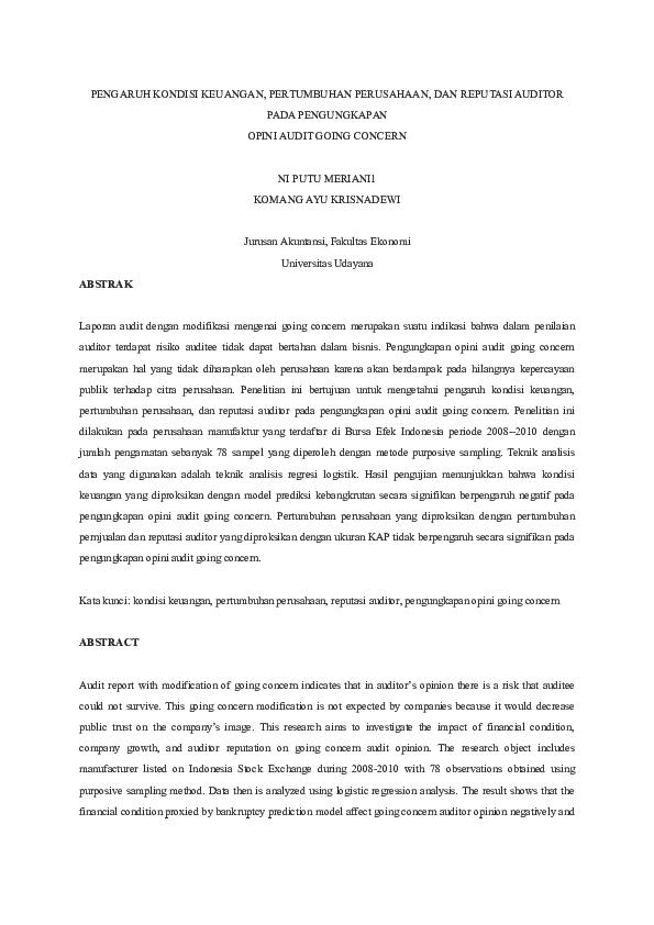 Doc Pengaruh Kondisi Keuangan Sitiamilatu Sholihah Academia Edu