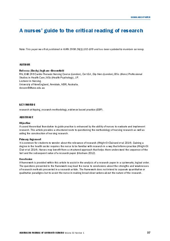 PDF) Ingham-Broomfield pdf A nurses' guide to the critical