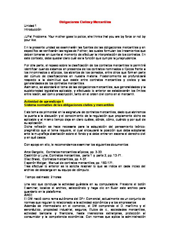 Doc Obligaciones Civiles Y Mercantiles Felipe Romero Felix