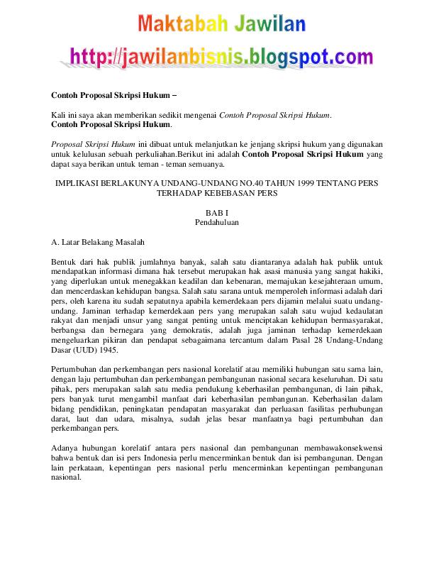 Pdf Contoh Proposal Skripsi Hukum Ady Alfarizi Academia Edu
