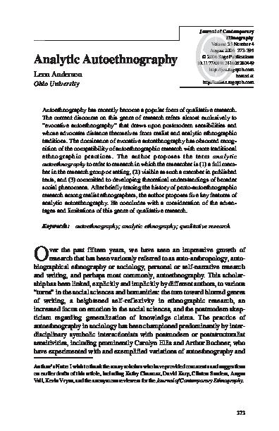 autoethnography essay topics