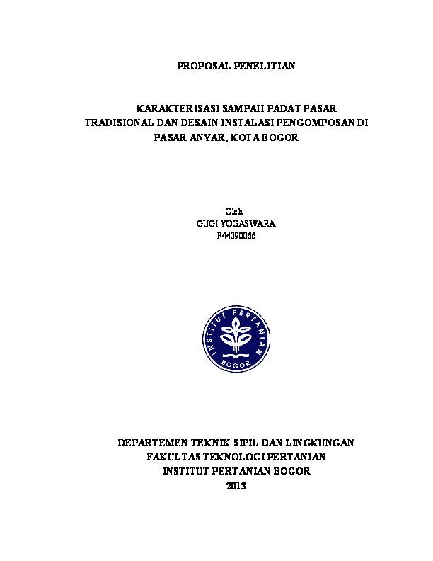 (PDF) PROPOSAL PENELITIAN KARAKTERISASI SAMPAH PADAT PASAR ...