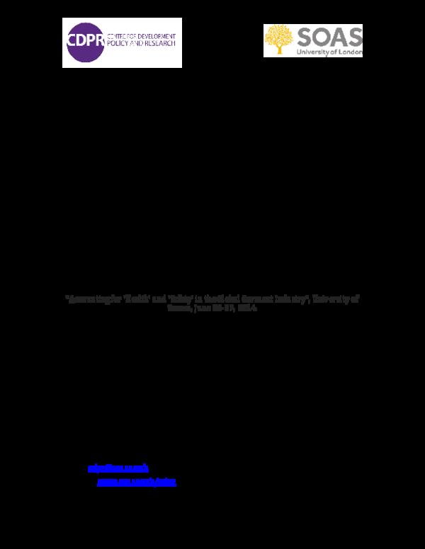 PDF) Garment Sweatshop Regimes: The Informalisation of