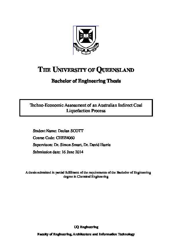 PDF)  Techno-Economic Assessment of an Australian Indirect