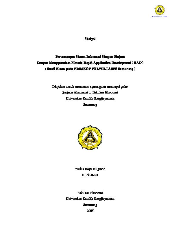 Pdf Skripsi Perancangan Sistem Informasi Simpan Pinjam Dengan