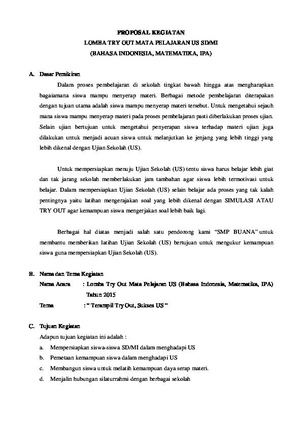 Pdf Proposal Kegiatan Lomba Try Out Mata Pelajaran Us Sd Mi Bahasa Indonesia Matematika Ipa Smp Buana Academia Edu