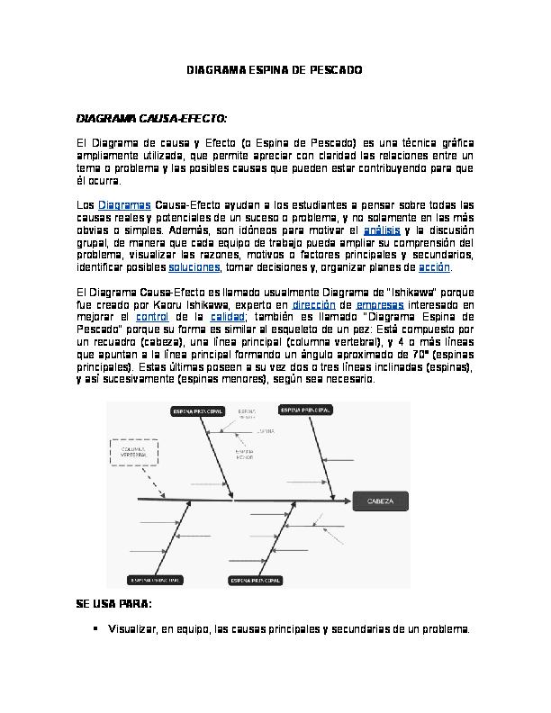 Doc  Diagrama Espina De Pescado Diagrama Causa