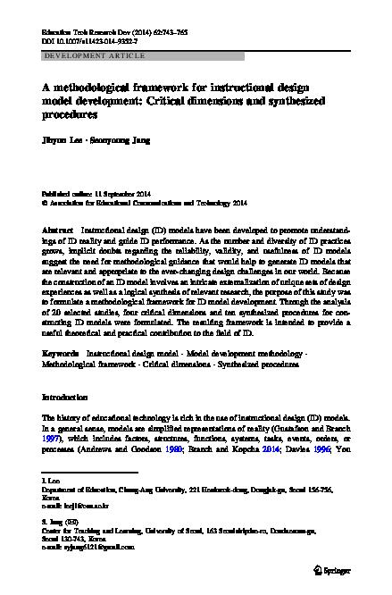 Pdf A Methodological Framework For Instructional Design Model Development Critical Dimensions And Synthesized Procedures Jihyun Lee Academia Edu