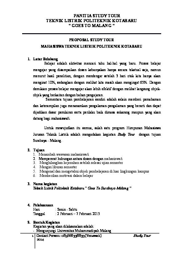 Doc Proposal Study Tour Mahasiswa Teknik Listrik Politeknik Kotabaru Bubuhan Kreatif Academia Edu