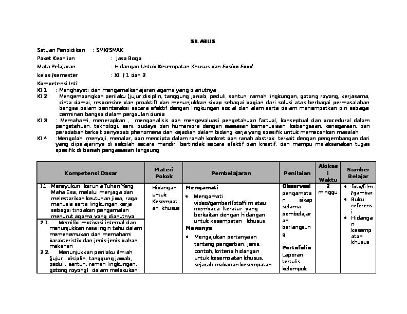 Silabus C3 Hidangan Kesempatan Khusus Dan Fusion Kls Xii Aini