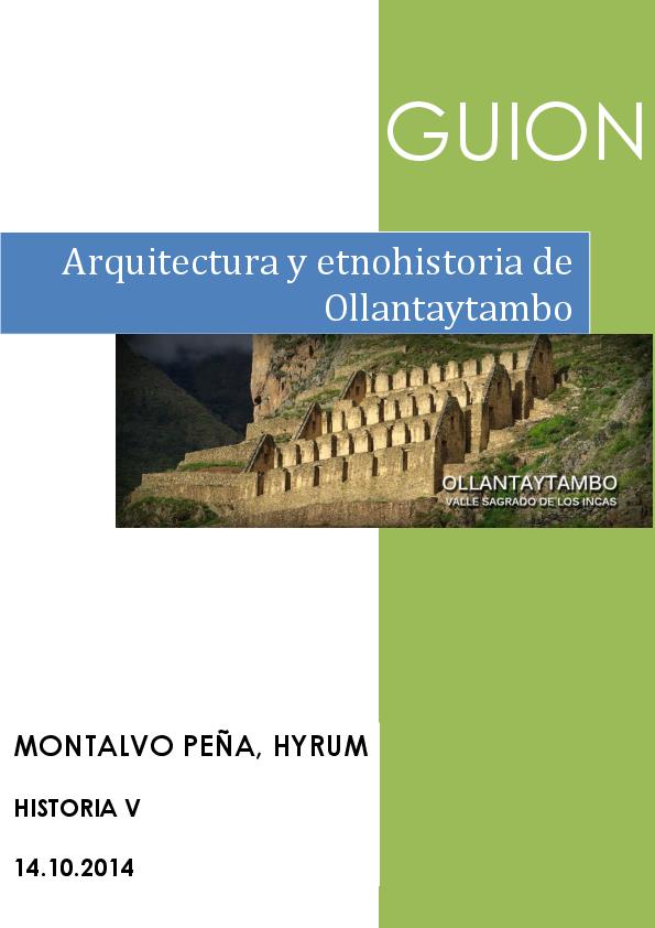 OLLANTAYTAMBO: Arquitectura y Etnohistoria (Guión)