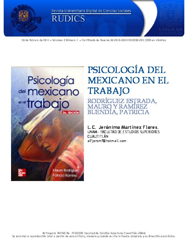 Psicologia Del Mexicano En El Trabajo Libro Completo Pdf ...