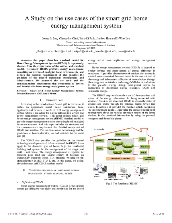 PDF) A Study on the use cases of the smart grid home energy