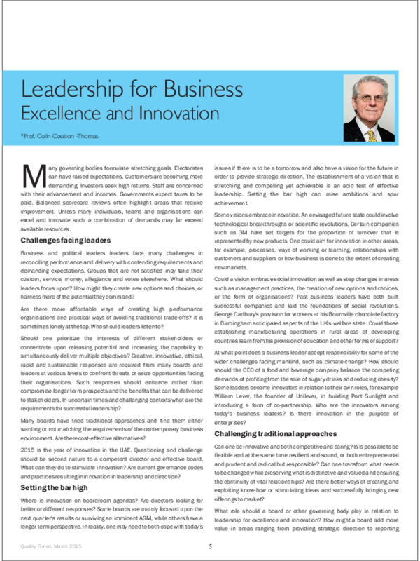 PDF) Leadership for Business Excellence and Innovation