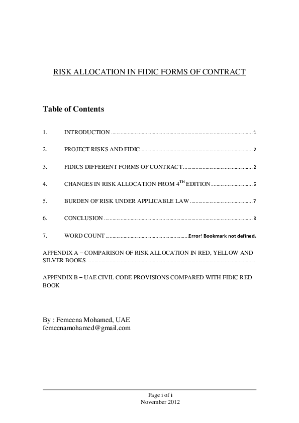 Pdf Risk Allocation In Different Fidic Contract Forms Femeena