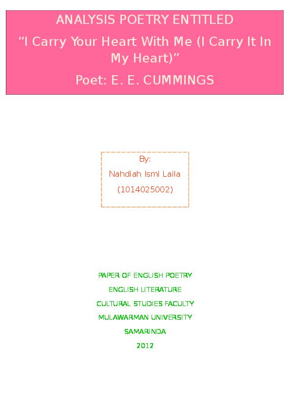 e e cummings i carry your heart literary analysis