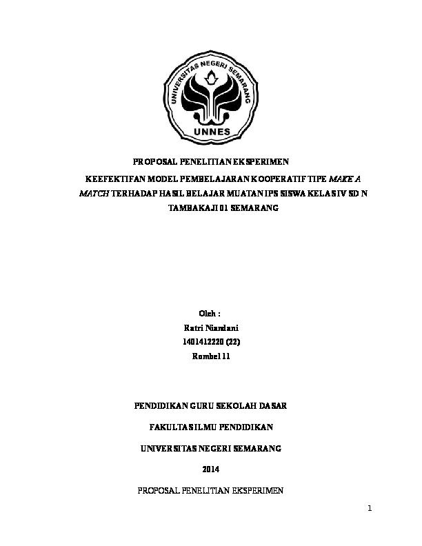 Doc Proposal Penelitian Eksperimen Ratri Niandani Academia Edu