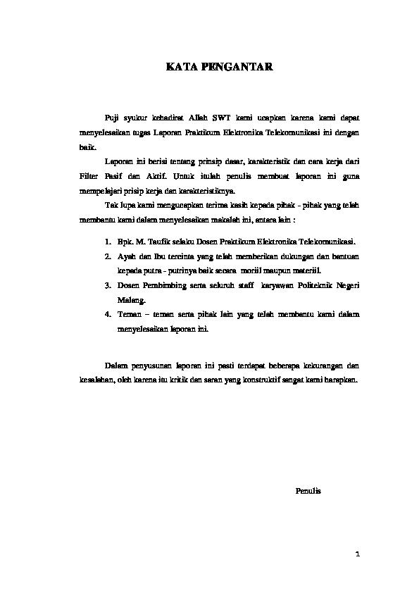 Laporan Praktikum Low Pass Filter Seputar Laporan