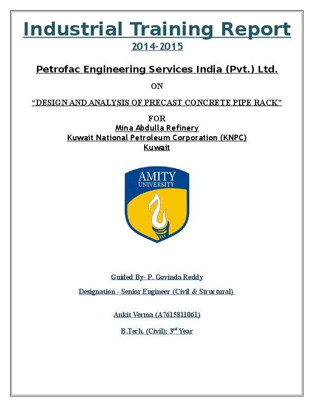 DOC) Analysis & Design on Pipe Racks | Ankit Verma - Academia edu