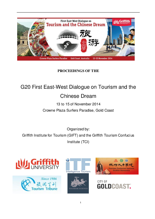PDF) PROCEEDINGS of the G20 First East-West Dialogue on Tourism and
