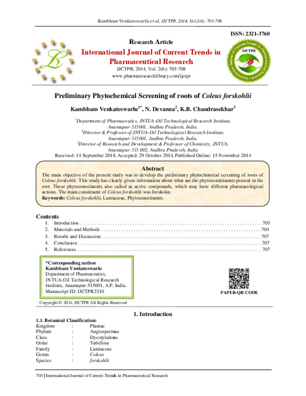 PDF) Preliminary Phytochemical Screening of roots of Coleus