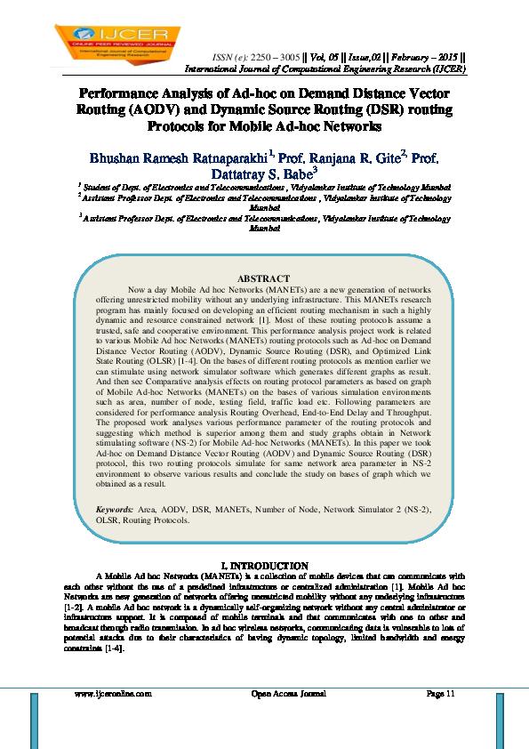 PDF) Performance Analysis of Ad-hoc on Demand Distance Vector