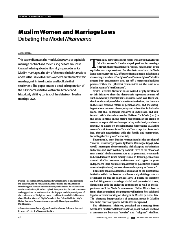 PDF) Muslim women and Marriage Laws: Debating Model Nikahnama | A