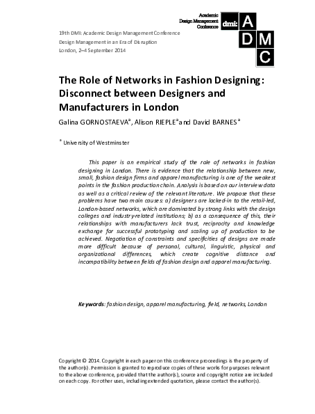 The Role Of Networks In Fashion Designing Disconnect Between Designers And Manufacturers In London Galina Gornostaeva And Alison Rieple Academia Edu
