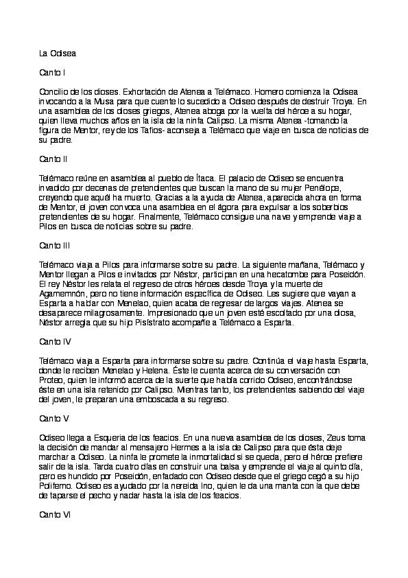 Pdf Resumen De La Odisea Por Anónimo Pdf Gratuito Marcela Acevedo Academia Edu