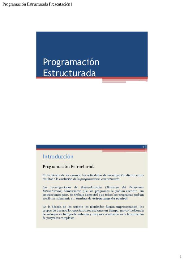 Pdf Programación Estructurada Presentación1 Jorge Ventura
