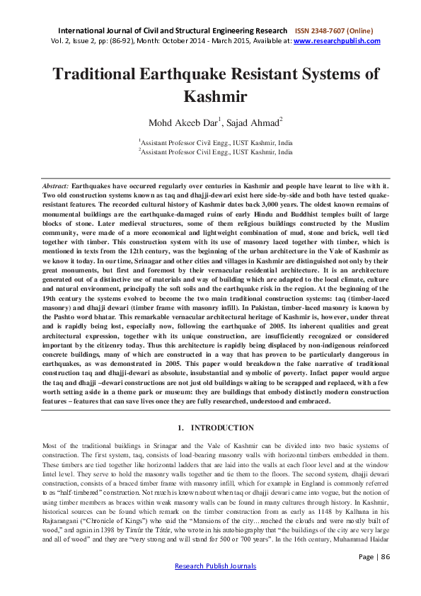 PDF) Traditional Earthquake Resistant Systems of Kashmir | SAJAD