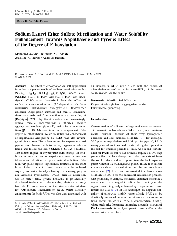 PDF) Sodium Lauryl Ether Sulfate Micellization and Water Solubility