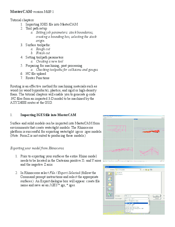 PDF) MasterCAM version Mill9 1 Tutorial chapters: 1  Importing IGES