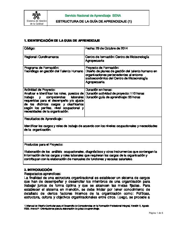 PDF) Estructurar Cargos -Guia de Aprendizaje | Manuel Pacavita -  Academia.edu