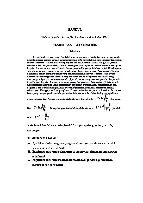 Laporan Praktikum Fisika Dasar Bandul Matematis Seputar Laporan