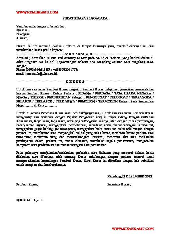 Doc Surat Kuasa Pengacara Nyoman Artha Academia Edu