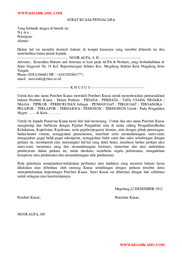 Doc Surat Kuasa Pengacara Nyoman Artha Academiaedu
