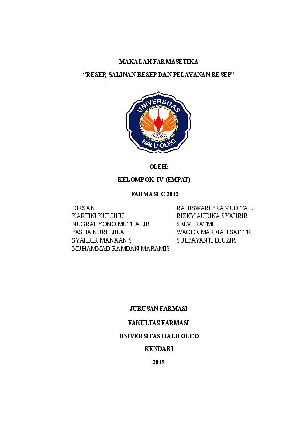 Doc Makalah Resep Dan Salinan Resep Nugrahyono Muthalib Academia Edu
