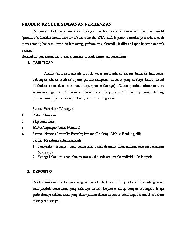 Doc Produk Produk Simpanan Perbankan Desintia Anggraeni Academia Edu