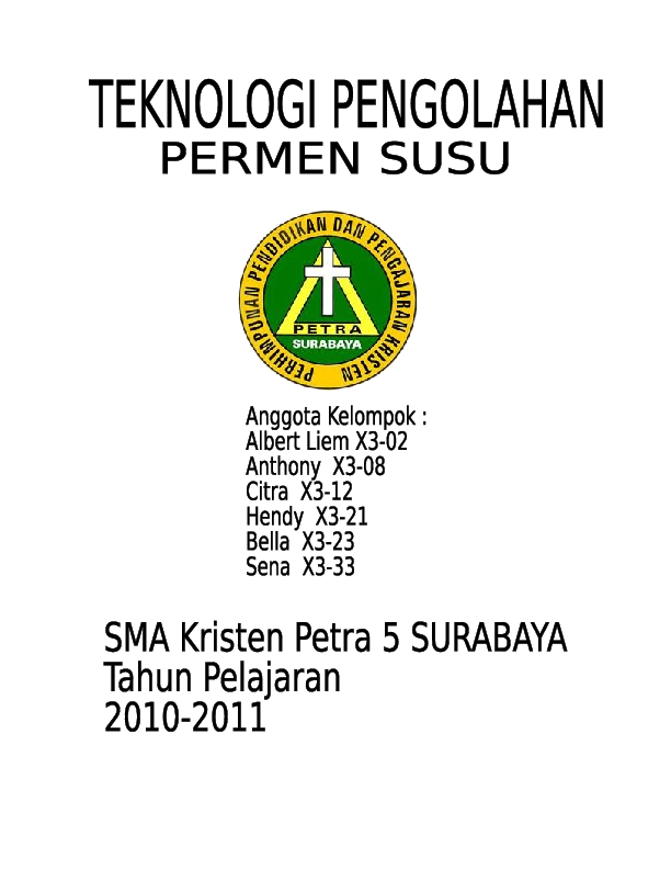 DOC) Laporan Pembuatan Permen Susu | Wu Anthony - Academia edu