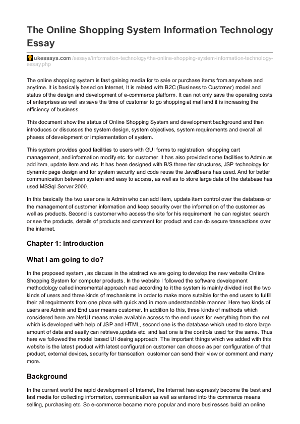 The Online Shopping System Information Technology Essay  Mohammad  Pdf