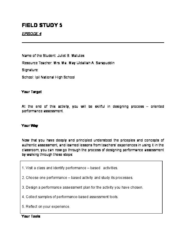 field study 2 episode 3
