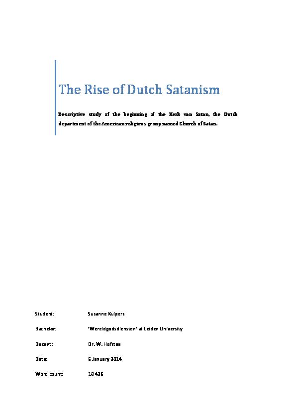 PDF) The Rise of Dutch Satanism   Susanne Kuipers - Academia edu