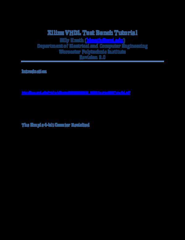 Pdf Xilinx Vhdl Test Bench Tutorial Fethi Chelia