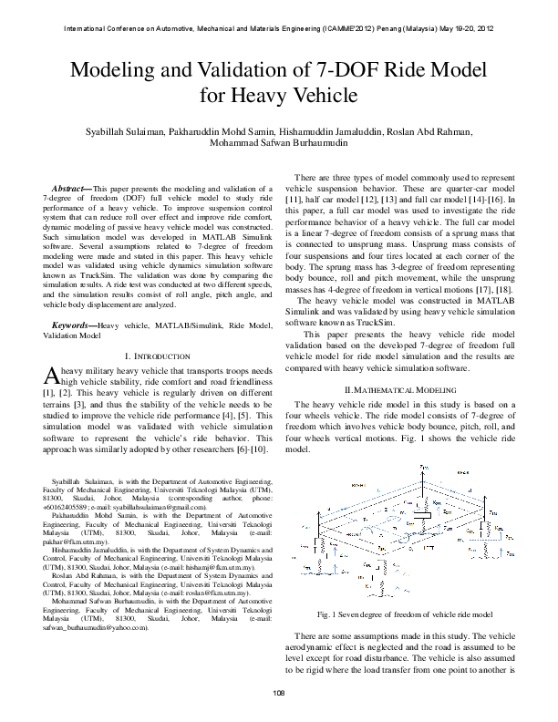PDF) Modeling and Validation of 7-DOF Ride Model for Heavy Vehicle