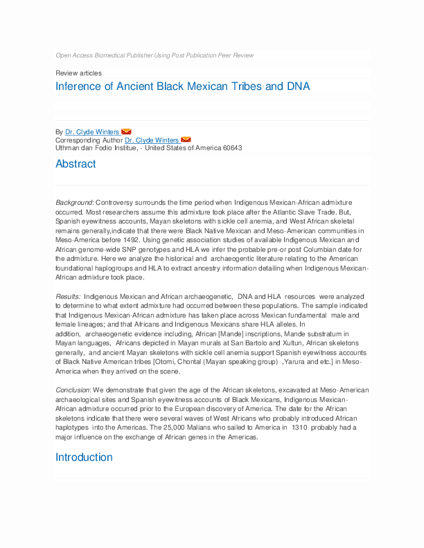 PDF) Inference of Ancient Black Mexican Tribes and DNA | Clyde